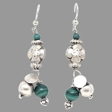 Indian Ethnic Silver and Green Malachite Tribal Drop Earrings