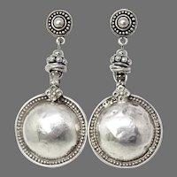 Vintage Indian Silver Disk Ethnic Drop Earrings