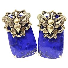 Blue Lapis Lazuli Button French Clip Earrings