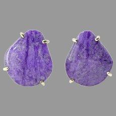 Stunning Rare Purple Sugalite Button Earring