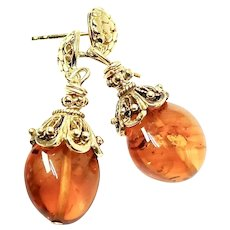 Clear Baltic Amber Drop Earrings