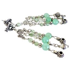 Green Chrysoprase and Silver Chandelier Drop Earings