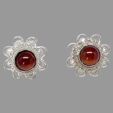 Vintage Carnelian and Silver Filigree Post Button Earrings