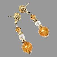 Golden Baltic Amber, Swarovski Crystal Drop Earrings