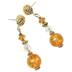 Golden Baltic Amber, Swarovski Crystal Drop Earrings