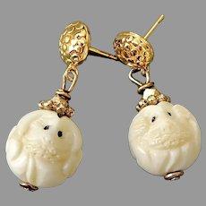 Carved Bone Dog Ojimi Drop Earrings