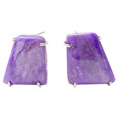 Purple Sugalite  Button Earrings