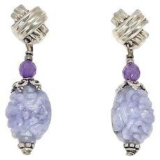Carved Lavender Jade Dragon Beads, Amethyst Drop Earrings