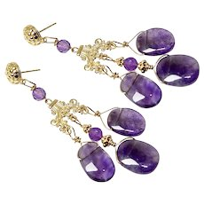 Purple Amethyst Lace Chandelier Drop Earrings