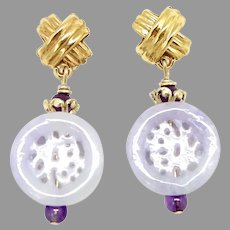 Carved Natural Lavender Jade Happiness and Longevity Drop Earrings