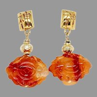Carnelian Agate Double Bats Drop Earrings