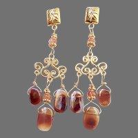 Fire Agate Chandelier Drop Earrings