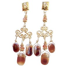 Fire Agate Chandelier Drop Earrings