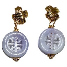 Lavender Jade Long Life and Double Happiness Drop Earrings