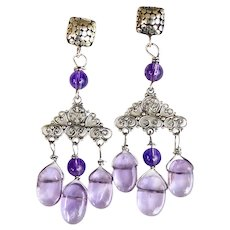 Amethyst Chandelier Drop Sterling Silver Earrings