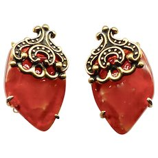 Rich Carnelian Agate Button Earrings