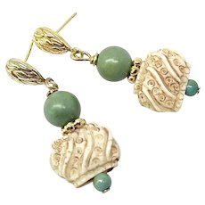 Decorated Bone and Natural Chinese Green Turquoise Drop Earrings