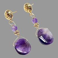 Lace Amethyst Drop, 18k GV Earrings