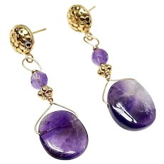 Lace Amethyst Drop, 18k GV Earrings