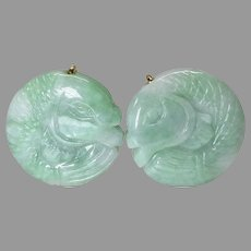 Carved Natural Green Jade Fish Button Earrings