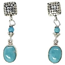 Vintage Turquoise and Sterling Silver Drop Earrings