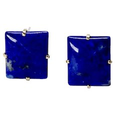 Natural Blue Lapis 18GV French Clip Button Earrings