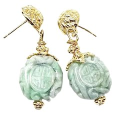 Carved Green Jade Long Life Drop Earrings