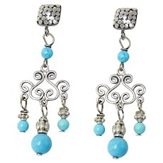 Natural Turquoise Chandelier Sterling Silver Drop Earrings