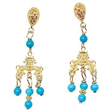 Bright Turquoise Chandelier Drop Earrings