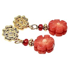 Enhanced Red Coral Flower Drop Earrings