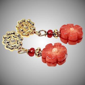 Enhanced Red Coral Flower Drop Earrings