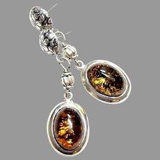 Deep Golden Honey Baltic Amber Silver Drop Earrings