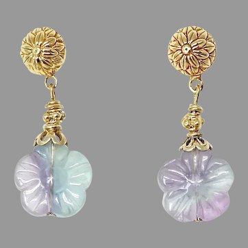 Rainbow Fluorite Flower Drop Earrings