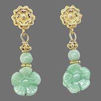 Apple Green Peking Glass Flower Drop Earrings
