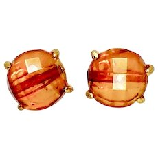 Faceted Golden Baltic Amber Button Earrings