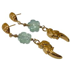 18K Gold Vermeil Parrot, Green Fluorite Flower Drop Earrings