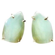 Rare Gem Quality Peruvian Opal Button Earrings