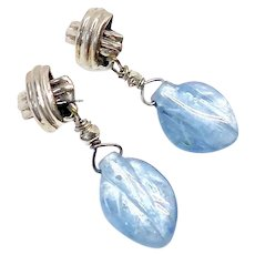 Silvery Blue Iridescent Kyanite Petal Drop Earrings