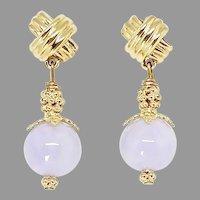 Rare Lavender Jade Drop Earrings