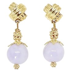 Rare Lavender Jade Drop Earrings