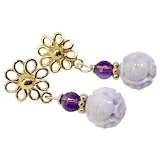 Lavender Jade Long Life , Faceted Amethyst Drop Earrings