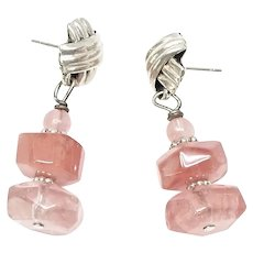 Faceted Pink Glass Nuggets Sterling Silver Drop Earrings