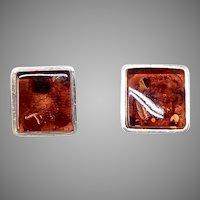 Vintage Deep Rich Golden Baltic Amber Button Earrings