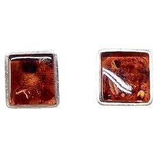 Vintage Deep Rich Golden Baltic Amber Button Earrings