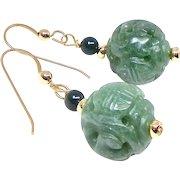 Carved Green Aventurine Drop Earrings
