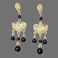 Black Onyx Drop Chandelier Earrings