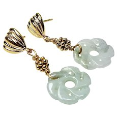 Green Jade Eternal Knot Drop Earrings