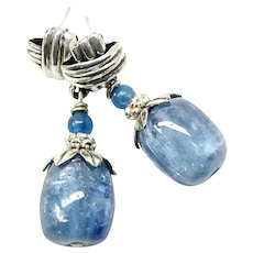 Iridescent Blue Kyanite Drop Sterling Silver Earrings