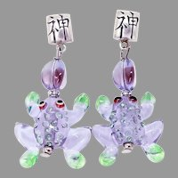 Whimsical Purple Glass Lamp Work Frog Drop Earrings