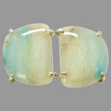 Natural Translucent Peruvian Opal Button Earrings